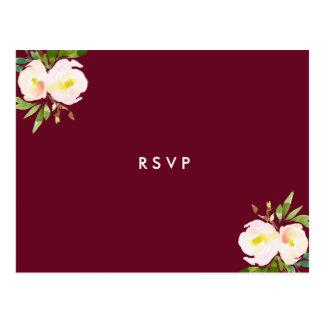 Burgundy Elegant Floral Quinceanera RSVP Postcard
