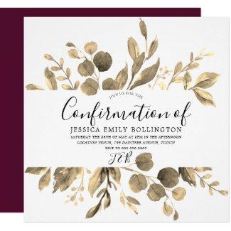 Burgundy & Elegant Gold Leaf Girls Confirmation Invitation