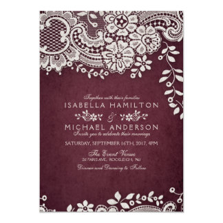 Burgundy Elegant Vintage Lace Rustic Wedding Card