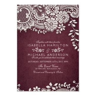 Burgundy elegant vintage lace rustic wedding invitation