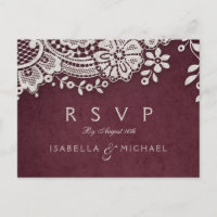Burgundy elegant vintage lace rustic wedding RSVP Invitation Postcard