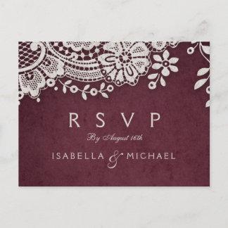 Burgundy elegant vintage lace rustic wedding RSVP Invitation Postcard