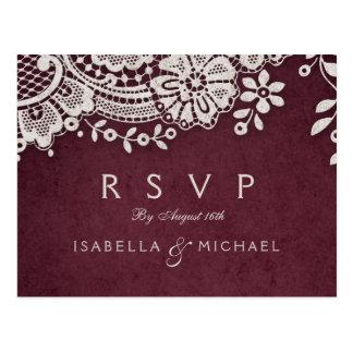 Burgundy elegant vintage lace rustic wedding RSVP Postcard