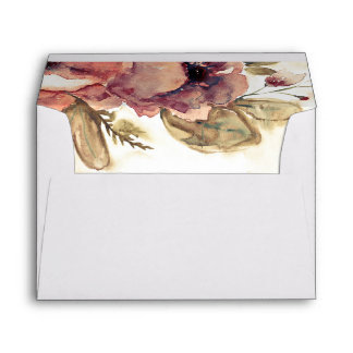 Burgundy Fall Flowers Watercolor Wedding Envelope