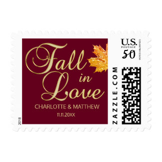 Burgundy FALL IN LOVE Autumn Gold Leaf Wedding Postage