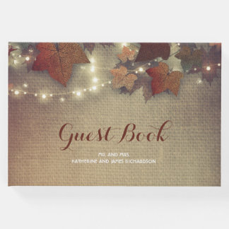 Burgundy Fall Leaves and String Lights Rustic Guest Book