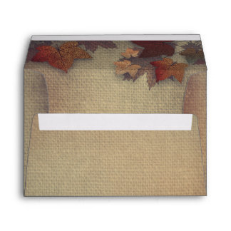 Burgundy Fall Leaves Rustic Burlap Wedding Envelope