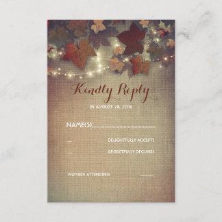 Burgundy Fall Leaves Rustic Wedding RSVP Cards