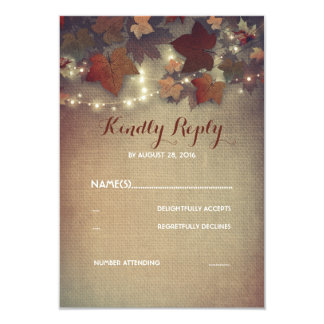 Burgundy Fall Leaves Rustic Wedding RSVP Cards