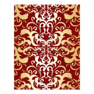 burgundy,faux gold,damask,vintage,elegant,chic letterhead