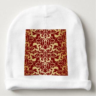 burgundy,faux gold,damask,vintage,elegant,chic,pat baby beanie
