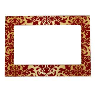 burgundy,faux gold,damask,vintage,elegant,chic,pat magnetic picture frame