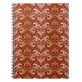 burgundy,faux gold,damask,vintage,elegant,chic,pat notebook