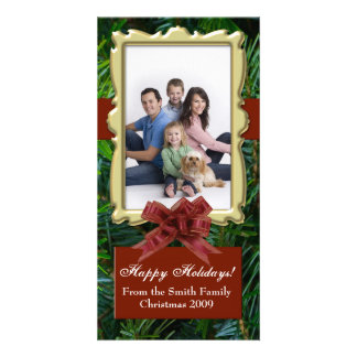 Burgundy Fir Tree Traditional Photo Cards