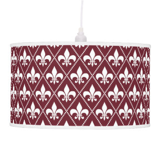 Burgundy Fleur de Lis Hanging Lamp