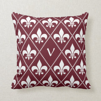 Burgundy Fleur de Lis with monogram initial Throw Pillow