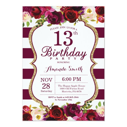 Burgundy Floral 13th Birthday Party Invitation