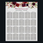 "Burgundy Floral 20 Tables Wedding Seating Chart<br><div class=""desc"">Burgundy Floral 20 Tables Wedding Seating Chart Poster. (1) please click the &quot;customize further&quot; link and use our design tool to enter guests names. (2) The default size is 26 x 32 inches, you can change it to other size. (3) If you need help or matching items, please contact me....</div>"