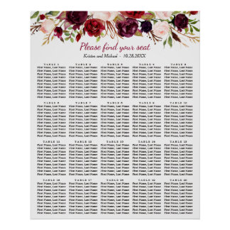 Burgundy Floral 20 Tables Wedding Seating Chart