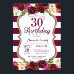 """Burgundy Floral 30th Birthday Party Invitation<br><div class=""""desc"""">Burgundy Floral 30th Birthday Party Invitation for women. Burgundy Red and Gold Birthday Party Invite. Gold Glitter. Burgundy Watercolor Floral Flower. Burgundy and White Stripes. 13th 15th 16th 18th 20th 21st 30th 40th 50th 60th 70th 80th 90th 100th, Any Ages. Printable Digital. For further customization, please click the """"Customize it""""...</div>"""