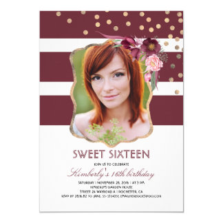 Burgundy Floral and Gold Photo Birthday Sweet 16 Card