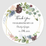 """Burgundy Floral and Greenery Thank you Favor Classic Round Sticker<br><div class=""""desc"""">These burgundy floral and greenery thank you favor classic round stickers are perfect for a a winter wedding. The elegant boho design features watercolor navy,  blush pink and wine shade flowers with artistic penciled details.</div>"""