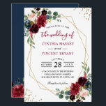 "Burgundy Floral Blue Gold Modern Geometric Wedding Invitation<br><div class=""desc"">Burgundy Floral Blue Gold Glitters Modern Geometric Wedding Invitation. (1) For further customization, please click the &quot;customize further&quot; link and use our design tool to modify this template. (2) If you prefer Thicker papers / Matte Finish, you may consider to choose the Matte Paper Type. (3) If you need help...</div>"