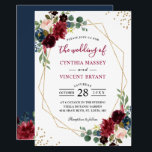 "Burgundy Floral Blue Gold Modern Geometric Wedding Invitation<br><div class=""desc"">*** See Matching Items: https://zazzle.com/collections/119409135726966222 *** 