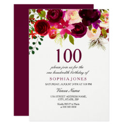 Burgundy Floral Boho 100th Birthday Party Invite