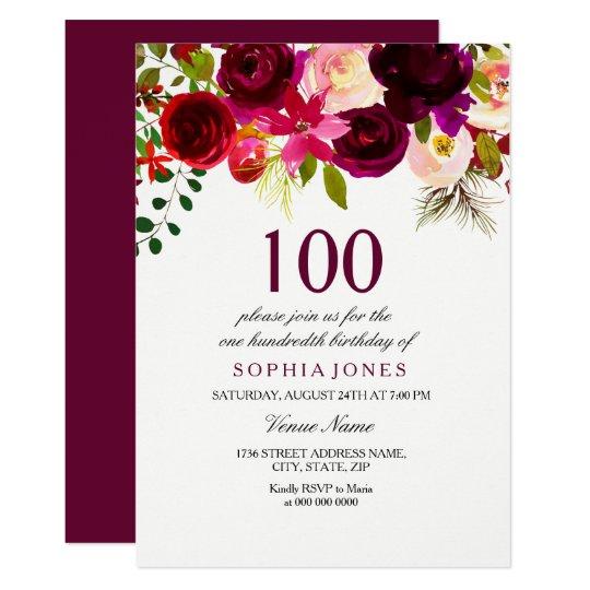 burgundy floral boho 100th birthday party invite zazzle com