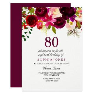Burgundy Floral Boho 80th Birthday Party Invite