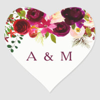 Burgundy Floral Boho all occasion favor Heart Sticker
