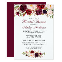Burgundy Floral Bridal Shower Invitation BB