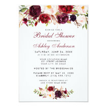 Burgundy Floral Bridal Shower Invitation BW