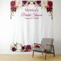 Burgundy Floral Bridal Shower Photo Booth Backdrop