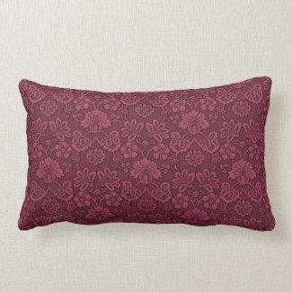 Burgundy Floral Brocade Print Lumbar Pillow