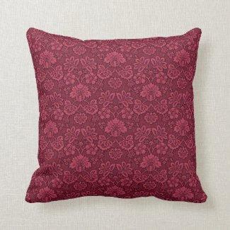 Burgundy Floral Brocade Print Pillow16x16