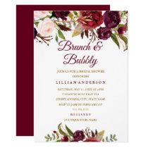 Burgundy Floral Brunch and Bubbly Bridal Shower Card