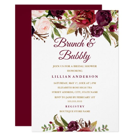 f0d1f4c6d75d Burgundy Floral Brunch and Bubbly Bridal Shower Invitation
