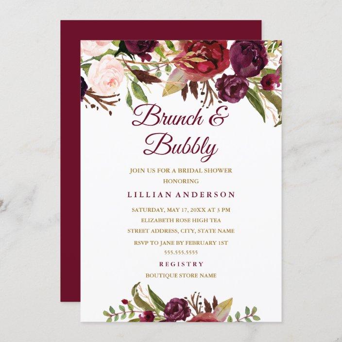 Chic Bridal Shower Burgundy Bridal Brunch Marsala Bridal Shower Invitation Bridal Shower invitation Autumn Invitation Printed invitation