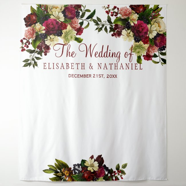 Burgundy floral chic wedding photo booth backdrop