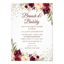Burgundy Floral Confetti Brunch and Bubbly Shower Card