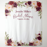 "Burgundy Floral Custom Bridal Shower Photo Booth Tapestry<br><div class=""desc"">Have fun snapping photos at the bridal shower with this elegant script and chic burgundy floral watercolor design backdrop you can use for the Photo Booth . You can personalize it with the bride's name and date. Elke Clarke @ Use the customize it menu to further customize the colors and...</div>"