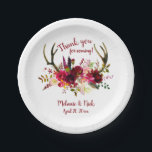 """Burgundy floral deer antlers wedding decor paper plate<br><div class=""""desc"""">Our popular burgundy floral design is available in many variations so you can mix and match your decor.  Please contact the design to request matching items.</div>"""