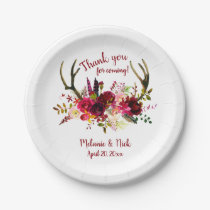 Burgundy floral deer antlers wedding decor paper plate