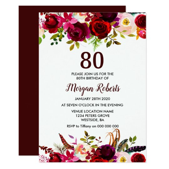 burgundy floral elegant 80th birthday party invite zazzle com