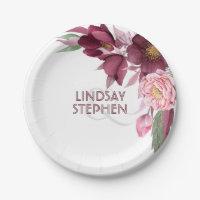 Burgundy Floral Elegant Wedding Paper Plate