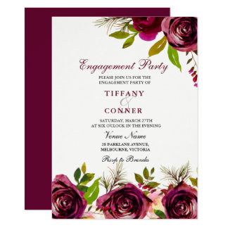 Burgundy Floral Engagement Party invitation