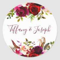 Burgundy Floral Engagement Party Wedding Script Classic Round Sticker