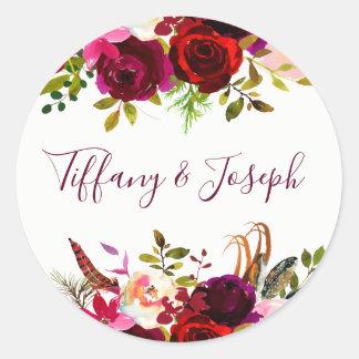 Burgundy Floral Engagement Party Wedding Script Classic Round Sticker